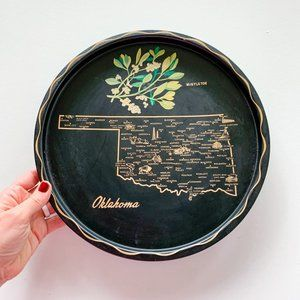 Vintage Tin Plate with Oklahoma Map